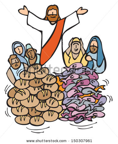 Jesus feeding the 5000 clip art pictures to pin on for Fishes and loaves