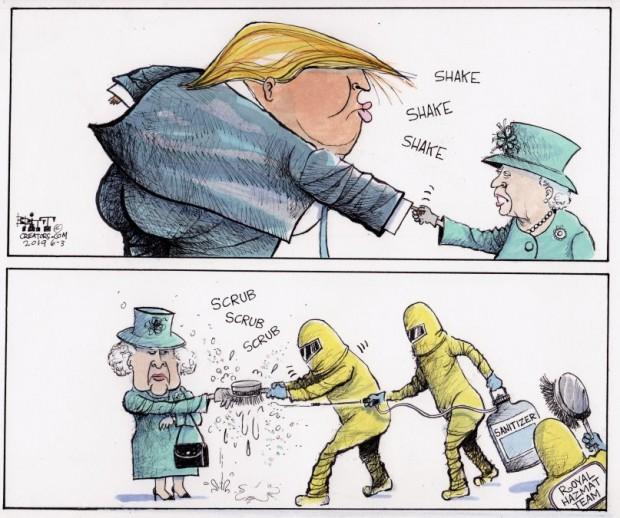 14_political_cartoon_u.s._trump_queen_elizabeth_hazmat_suit_handshake_-_chris_britt_creators