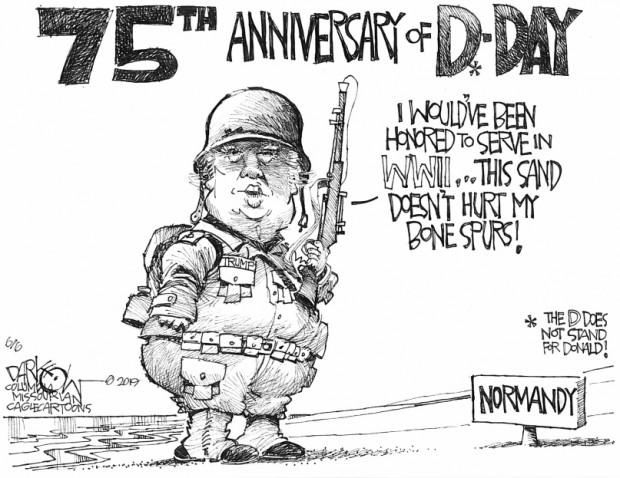 6_political_cartoon_u.s._trump_d-day_draft_dodging_bone_spurs_-_john_darkow_cagle