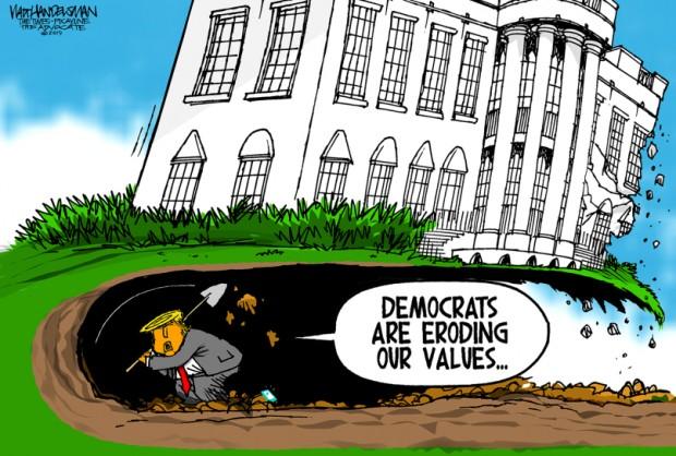 13_political_cartoon_u.s._trump_democrats_eroding_values_white_house_tunnel_-_walt_handelsman_tribune