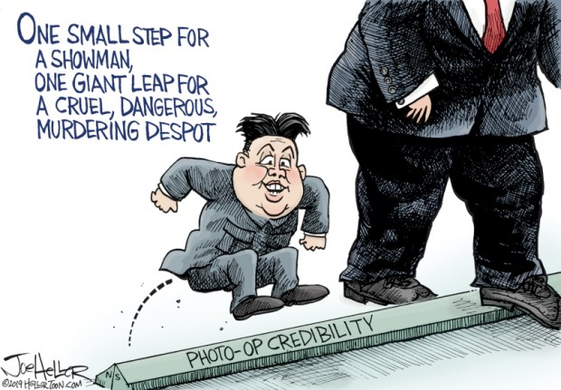 23_political_cartoon_u.s._trump_kim_jon_one_small_step_photo-op_credibility_-_joe_heller