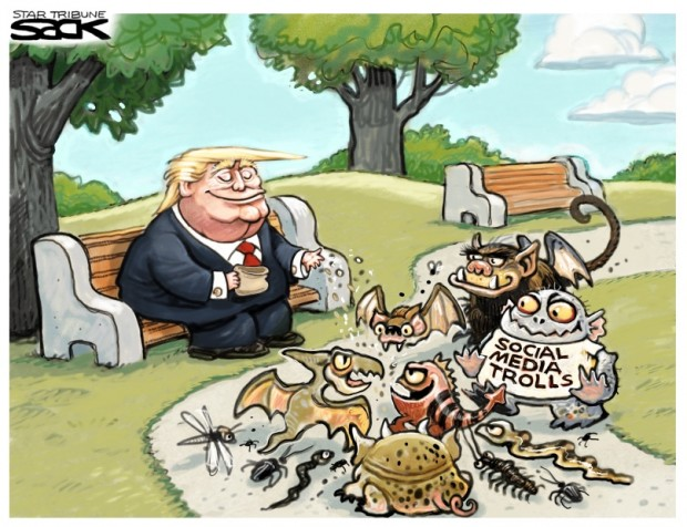 2_political_cartoon_u.s._trump_social_media_summit_feeding_the_trolls_-_steve_sack_cagle
