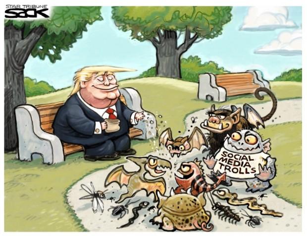 2_political_cartoon_u.s._trump_social_media_summit_feeding_the_trolls_-_steve_sack_cagle