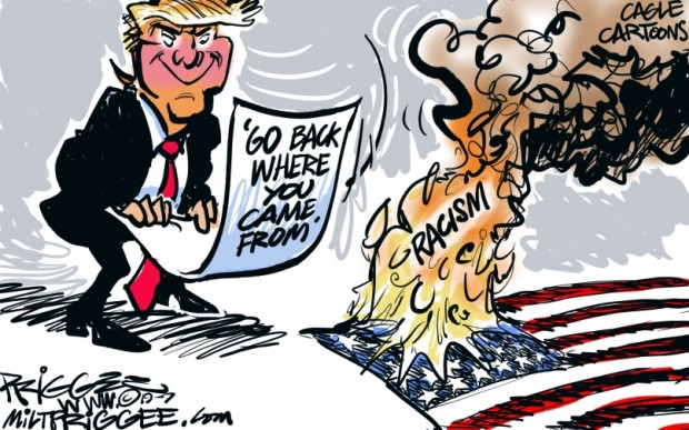 3_political_cartoon_u.s._trump_fanning_flames_of_racism_tweets_-_milt_priggee_cagle