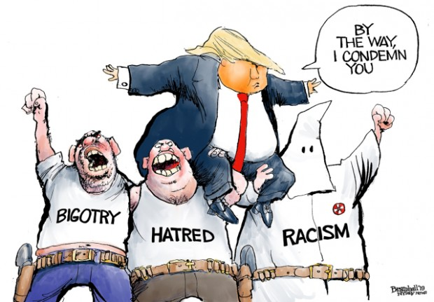 13_political_cartoon_u.s._trump_condemns_bigotry_racism_hatred_stands_on_shoulders_-_bill_bramhall_tribune