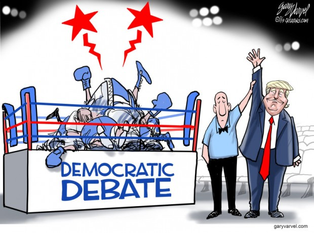 15_political_cartoon_u.s._trump_wins_democratic_debate_boxing_match_kos_-_gary_varvel_creators