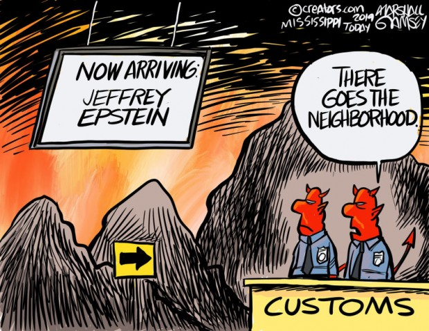 16_political_cartoon_u.s._jeffrey_epstein_arriving_in_hell_unhappy_demons_-_thomas_m._ramsey_creators