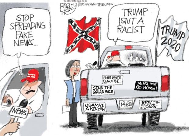 5_political_cartoon_u.s._trump_is_not_racist_fake_news_confederate_flag_-_pat_bagley_cagle