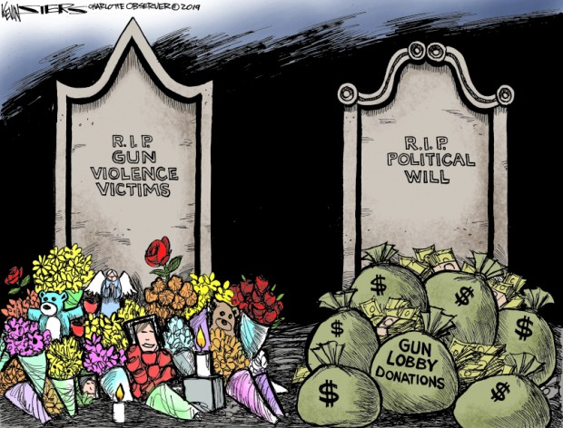 6_political_cartoon_u.s._gun_violence_victims_gun_lobby_donations_rip_political_will_-_kevin_siers_cagle