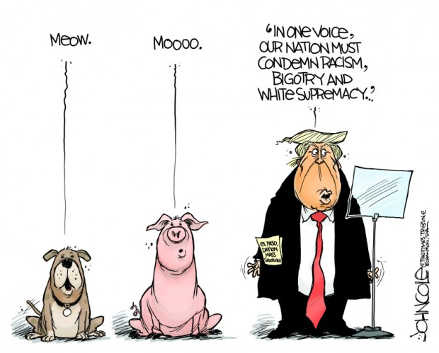9_political_cartoon_u.s._animals_wrong_sounds_trump_condemning_racism_-_john_cole_cagle