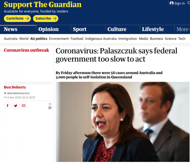 Palaszczuk on corona Screen Shot 2020-03-07 at 11.24.28 am